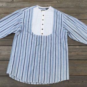 Liz wear lightweight denim striped tunic shirt